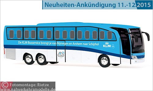 Rietze Busmodell Artikel 66355 Mercedes-Benz Travego M K L M Royal Dutch Airlines