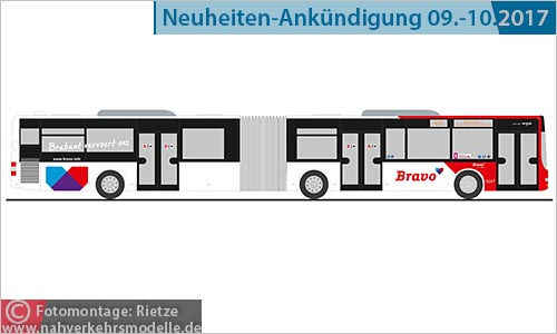 Rietze Bus model art.nr. 72758 M A N Lions City G Bravo Nederland