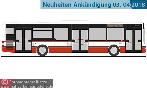 Rietze Busmodell Artikel 72726 M A N Lions City Stadtbus Frauenfeld
