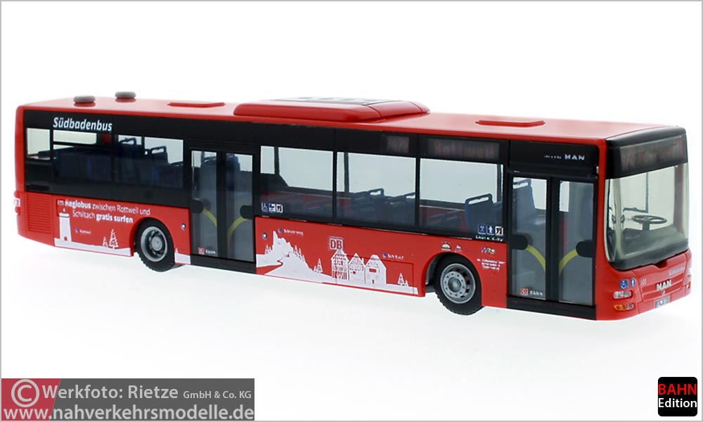 Rietze Busmodell Artikel 72707 M A N Lions City Südbadenbus